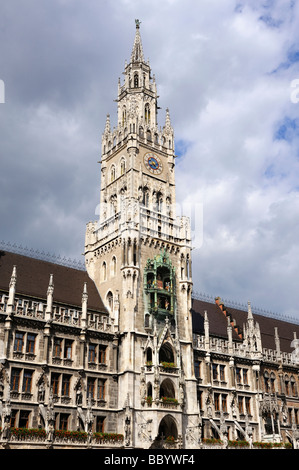 The 85 meter high tower of the new city hall on the Marienplatz square in Munich, Bavaria Munich, Europe - Stock Photo