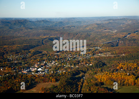 Aerial view of the town of Fayetteville, WV. - Stock Photo