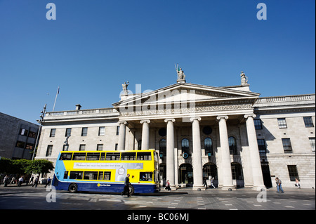 Double Decker bus passing the General Post Office GPO building on O Connell Street Dublin Republic of Ireland - Stock Photo
