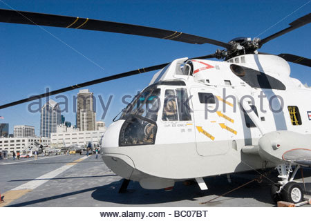 Navy Helicopter on USS Midway Flight Deck San Diego California - Stock Photo
