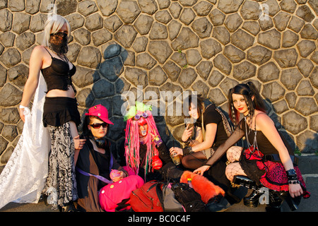 Group of 5 stylished young girls in shrill fantasy outfit on the Japanese Day in Düsseldorf 2009 Japan Tag - Stock Photo