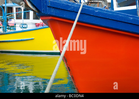 Colorful fishing boats in the harbor of Kirkwall Mainland Orkney Islands Scotland - Stock Photo