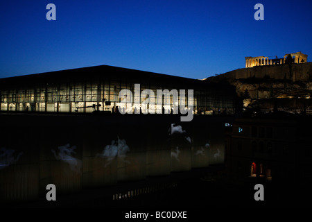 The New Acropolis museum in Athens Greece Projection of animated images from exhibits of the museum - Stock Photo