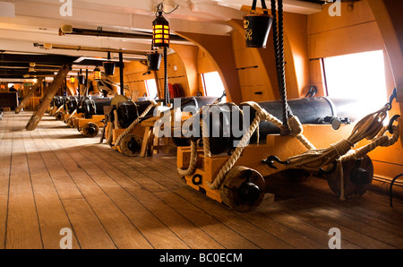 HMS Victory, launched 1765, historic flagship of Lord Nelson at the Battle of Trafalgar, Portsmouth, England, UK - Stock Photo