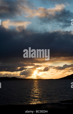 Sunset over Sound of Taransay , Isle of Harris, Outer Hebrides, Scotland - Stock Photo