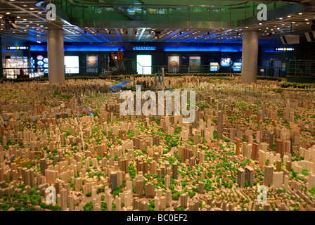 Illuminated scale plan of Shanghai for World Expo 2010 Shanghai Urban Planning Exhibition Hall China - Stock Photo