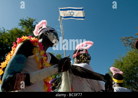 African asylum seekers celebrating the UNHCR World Refugee Day in Tel Aviv Israel - Stock Photo