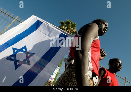 African asylum seekers taking part in the UNHCR World Refugee Day in Tel Aviv Israel - Stock Photo