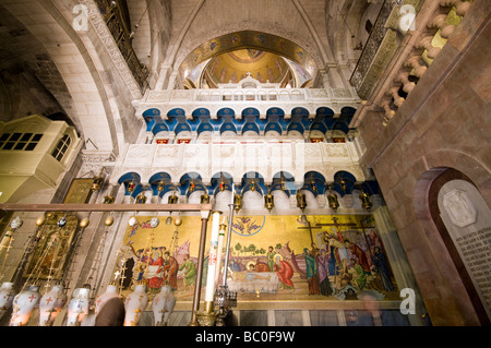 Interior of Church of the Holy Sepulchre, Jerusalem, Israel - Stock Photo
