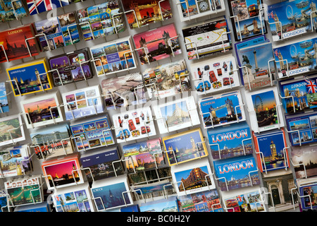 Postcards for sale in a stall in the west end of London, UK - Stock Photo