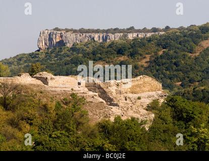 Ruins of a medieval Bulgarian fortress on Trapezitsa hill in Veliko Tarnovo, Bulgaria - Stock Photo