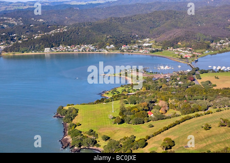 Aerial view of the Waitangi Treaty Grounds and the town of Paihia in the Bay of Islands, Northland, New Zealand - Stock Photo