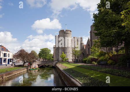 View along the River Stour to Westgate towers from West Gate gardens in Canterbury Kent England UK Great Britain - Stock Photo