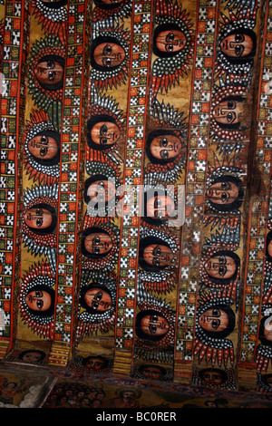 Africa Ethiopia Gondar Painted ceiling in the Church of Debre Birhan Selassie painting of 80 cherubic faces - Stock Photo