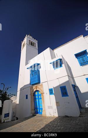 TUNIS, TUNISIA. Mosque in the village of Sidi bou Said outside Tunis. 2009. - Stock Photo