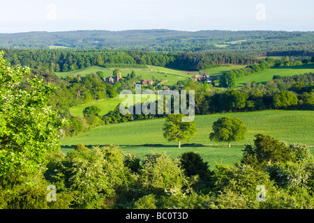 View to Albury from Newlands Corner, Surrey, UK - Stock Photo