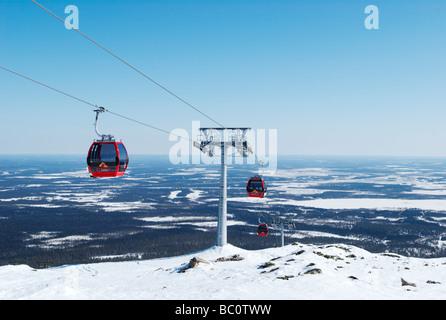 Ski lifts, Yllas, Lapland, Finland - Stock Photo