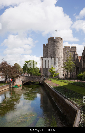 View along the River Stour to Westgate towers from West Gate gardens in Canterbury Kent England UK - Stock Photo