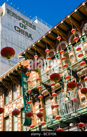 A view of Grant Avenue in China Town in San Francisco. - Stock Photo