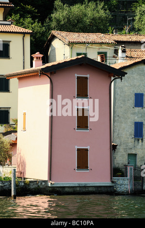 Pink waterfront villa Sensole on the island of Monte Isola Lake Iseo Lombardy Italy - Stock Photo