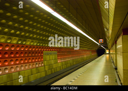 Empty Staromestska metro station in old town Prague Czech Republic Europe - Stock Photo