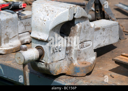vice vices engineer engineering engineers bench work skill skills skilled manual labour clamp metal metalwork work - Stock Photo