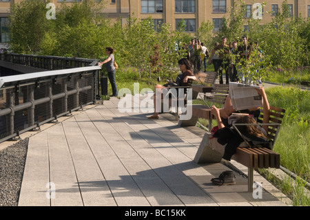 People relaxing on the Highline Park - Stock Photo