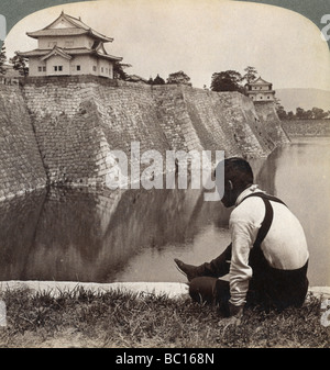 Feudal castle of the proud Shoguns, Osaka, Japan, 1904. - Stock Photo