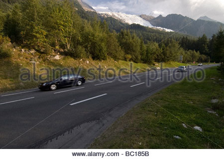 Chamonix: the road climbing up to Mont-Blanc Tunnel entrance - Stock Photo