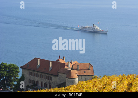 The Swiss paddle steamer 'Vevey' passing a chateau and vineyards on the shores of  Lac Leman (Lake Geneva), Switzerland. - Stock Photo