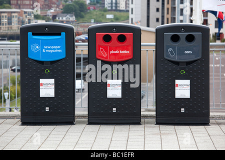 Recycling bins Gateshead Tyne and Wear - Stock Photo