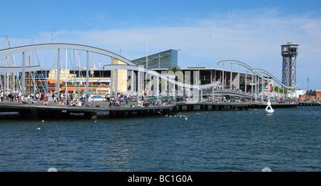 Rambla del Mar Port Vell Barcelona Catalunya Spain - Stock Photo