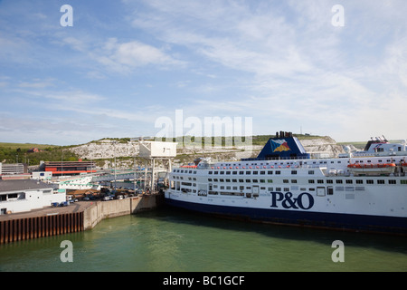 Dover to Calais P&O cross channel ferry docked in port. Dover Kent England UK Britain - Stock Photo
