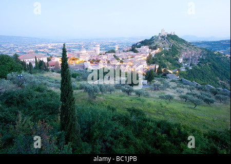 early morning in Assisi Umbria Italy Europe - Stock Photo