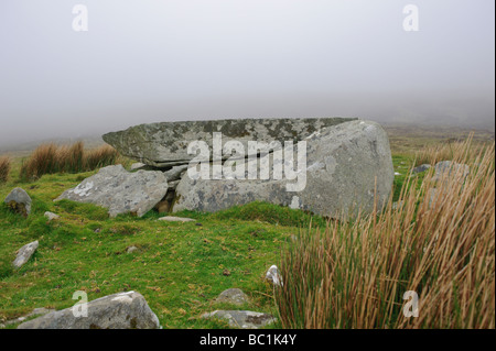 Megalithic tomb or tombs in fog on Achill Island County Mayo Republic of Ireland - Stock Photo