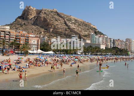 Postiguet Beach in the city of Alicante, Alicante Province, Comunidad Valenciana, Spain - Stock Photo