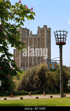 The 90-foot high Keep of the 12th Century Royal Castle built by Henry II, Orford, East Anglia, UK - Stock Photo