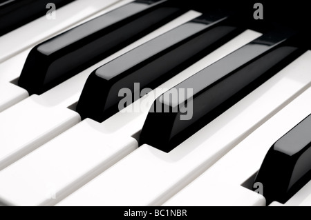 A horizontal close up of piano keyboard keys - Stock Photo