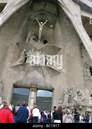 Sagrada Familia ANTONI GAUDI BARCELONA SPAIN ENTRANCE CATHEDRAL CHURCH TEMPLE ATTRACTION - Stock Photo