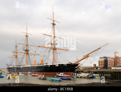 HMS Warrior (1861), the Royal Navy's first iron-hulled, arnour-plated warship, Portsmouth Historic Dockyard, Portsmouth, - Stock Photo