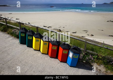 Various Council Litter Bins for Recycling refuse, rubbish, enviornmental waste at Sennen Cove beach on the Land's - Stock Photo