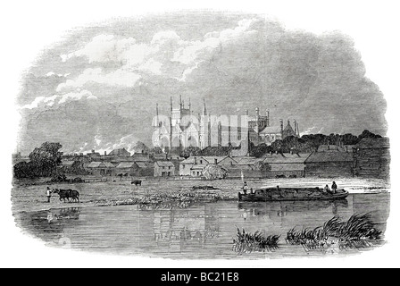 peterborough cathedral from the great northern railway - Stock Photo