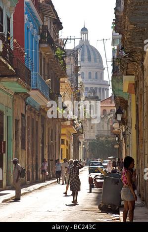 Street scene from Old Havana towards the Capitolio building. Habana Vieja, Cuba - Stock Photo