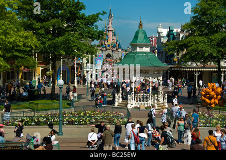 Paris France,  People Visiting 'Disneyland Paris' General Overview, 'Main Street USA' Attraction - Stock Photo