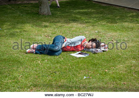 Sleeping in park - Stock Photo