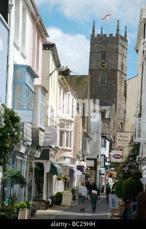 Foss Street shops, Dartmouth, Devon, UK - Stock Photo