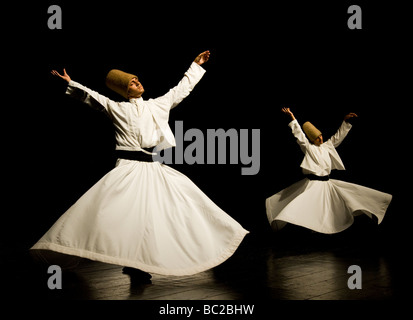 Whirling Dervishes in Istanbul Turkey - Stock Photo