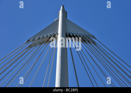 Abstract shapes of top section of support column for cables on suspension bridge - Stock Photo