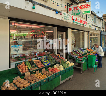 The village Butchers and Greengrocers Westerham Kent England UK - Stock Photo