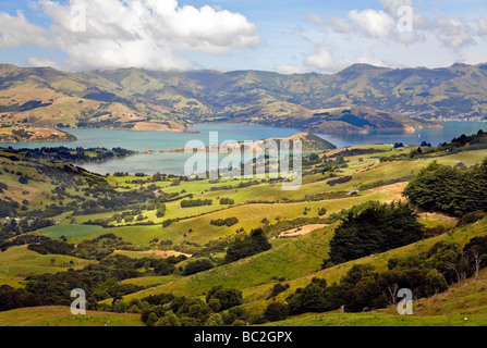 View of Akaroa Banks Peninsula near Christchurch from surrounding mountains - Stock Photo
